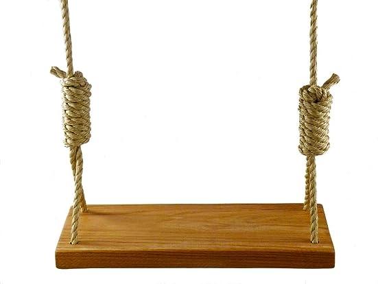 Premiere Red Oak 24 Inch 4 Hole Wooden Tree Swing – Rope Swings Outdoor Patio Wood Kids Adults