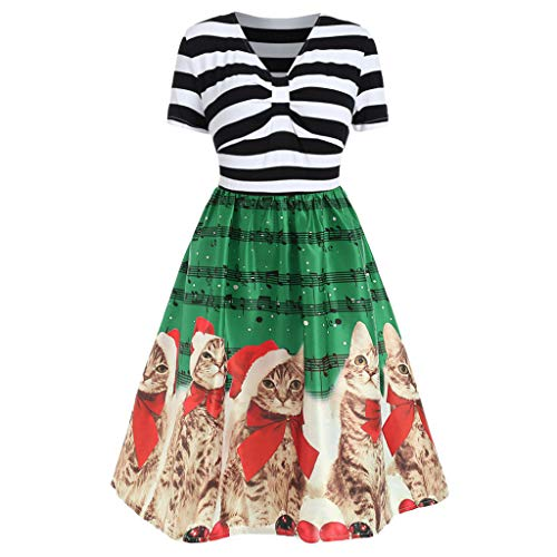 Opeer Womens Christmas Dresses Festive with Cats Printed Vintage V-Neck Short Sleeve Cocktail Tunic Evening Dress (Green, L)