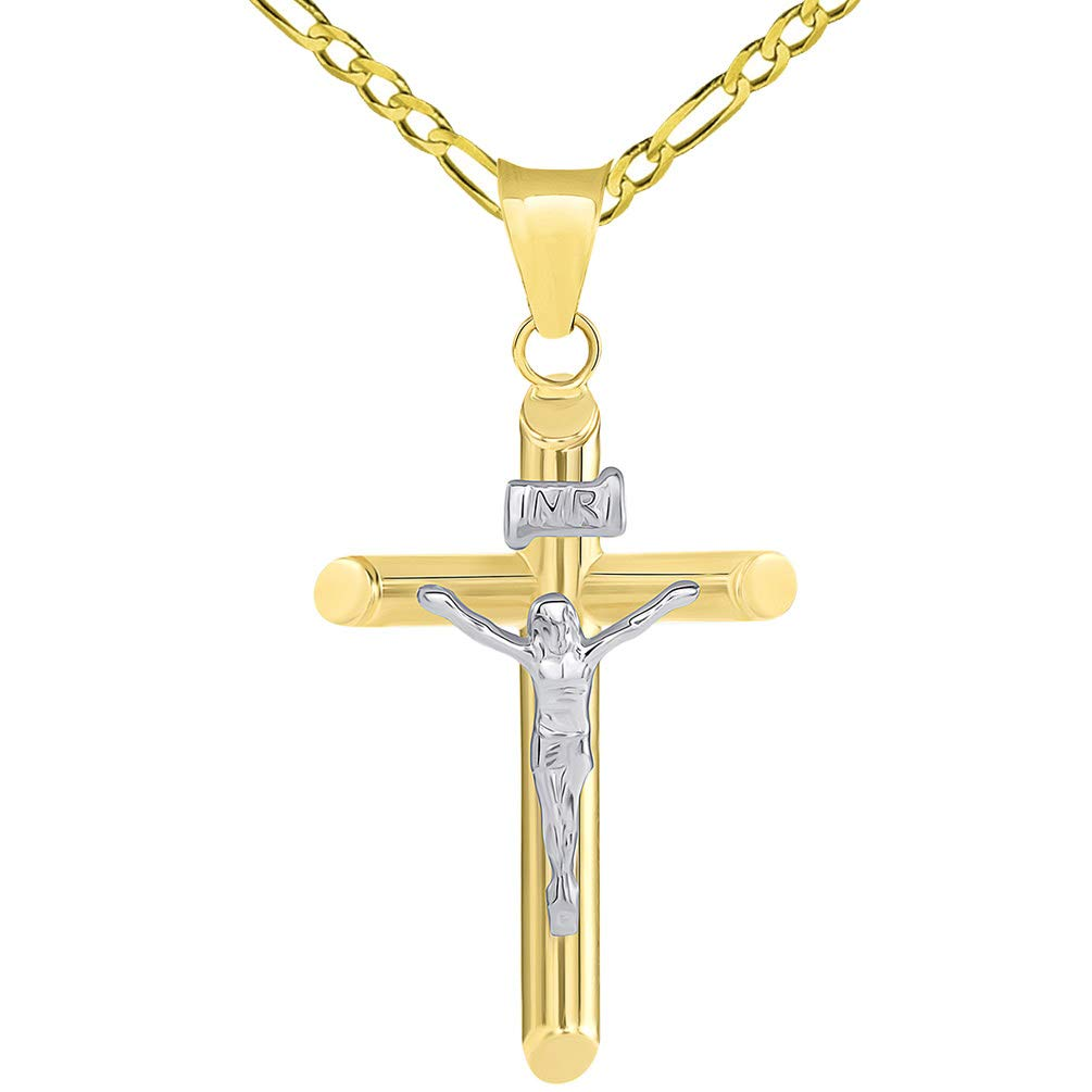 14k Two Tone Gold Tubular Cross INRI Crucifix Pendant with Figaro Necklace