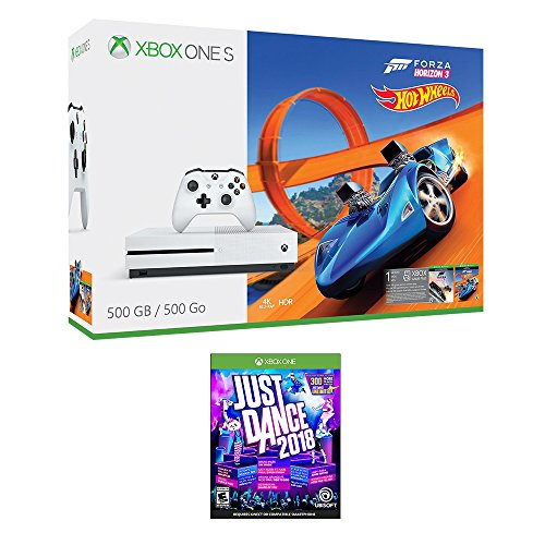 Xbox One Just Dance Racing Bundle (2 Items): Xbox One S 500GB Console with Forza Horizon 3 Hot Wheels and Just Dance 2018 Game by Microsoft