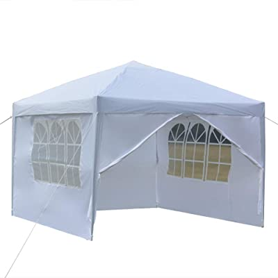 Road.Ahead 10 x 10 Pop up Canopy Commercial Tent Outdoor Party Canopies gazebos, Two Doors & Two Windows Practical Waterproof Right-Angle Folding Tent -White : Garden & Outdoor