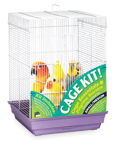 Prevue Hendryx 91210 Square Roof Bird Cage Kit, White and Purple by Prevue Hendryx