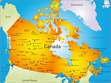 karte von kanada Poster 40 x 30 cm: Kanada   Landkarte von Editors Choice