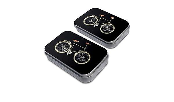 Fixed Gear Bicycle Decorative Craft Trinket Metal Tin Box Set of 2