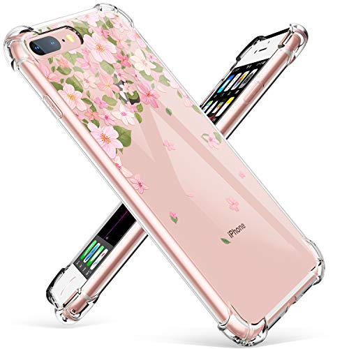 GVIEWIN Clear Case for iPhone 8 Plus/7 Plus, Flower Pattern Design Soft & Flexible TPU Ultra-Thin Shockproof Transparent Floral Cover, Cases for iPhone 7/8 Plus 5.5 Inch (Pink Skura)