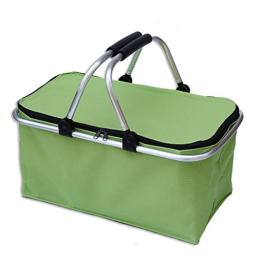 U'Artlines Insulated Collapsible Market Picnic Basket Cooler Zip Closure Basket with Carrying Handles for BBQ's,Grocery Shopping,family picnic (Green)