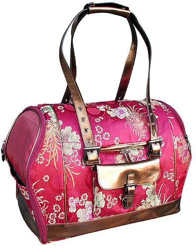 Celltei Precious Tote – Flower Brocade with Leather Trims – Medium Size, My Pet Supplies