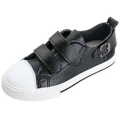 Alexis Leroy Unisex Kids' Back Buckle Hook and Loop Low-Top Sneakers Black 8 UK / 25 EU