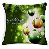 Leewos Hot New! Christmas Pillowslip,Merry Xmas Floral Pattern Throw Cushion Case Linen Square Home Decor Pillow Cover (45X45cm, E)