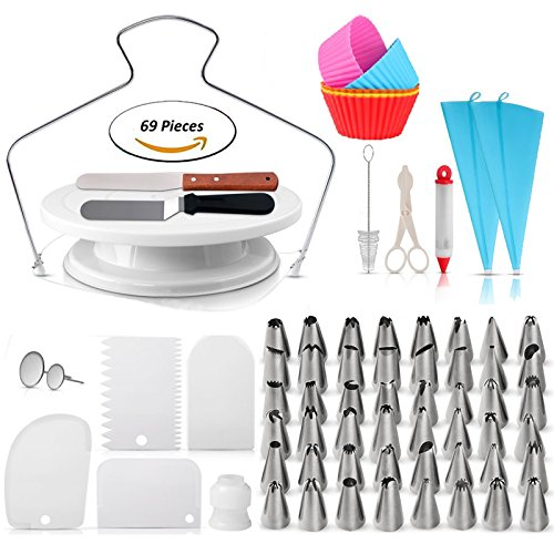 69pcs Cake Decorating Supplies Bundled with 5 Silicon Cupcake molds - Complete Kit includes 48 pcs Icing Tips Turntable Cake Stand 2 Spatulas 2 Reusable Silicone bags 1 Cake Pen More!