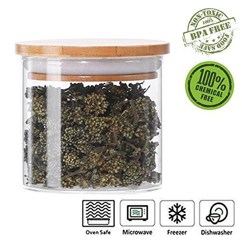 r Airtight Container with Bamboo Lid, Kitchen Canisters Organizer of Tea Seasonings Snacks(300ml/10.5oz) ()