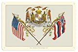 Pacifica Island Art 8in x 12in Vintage Tin Sign - Royal Hawaiian Coat of Arms - Ua Mau ke Ea o ka_ina i ka Pono (The Life of the Land is Perpetuated in Righteousness) - Hawaii State Motto