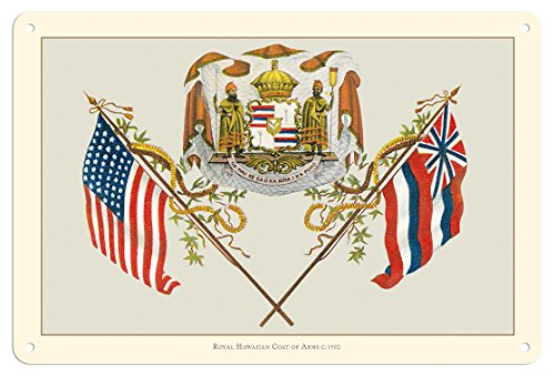 Pacifica Island Art 8in x 12in Vintage Tin Sign - Royal Hawaiian Coat of Arms - Ua Mau ke Ea o ka_ina i ka Pono (The Life of the Land is Perpetuated in Righteousness) - Hawaii State Motto by Pacifica Island Art