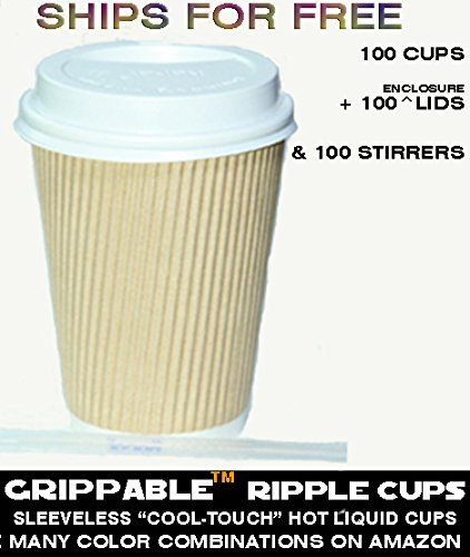 GRIPPABLE? RIPPLE INSULATED HOT/COLD 12OZ CUPS, LIDS & STIRRERS Disposable 100PK - LIDS ARE LOCKTITE WITH SIPHOLE COVER - Grip EASY - NO LEAKS, NO SLEEVES - ECO-SMART - HOME OFFICE BANQUETS