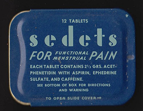 (Rexall Sedets For Functional Menstrual Pain empty 12 tab tin ca 1950s)