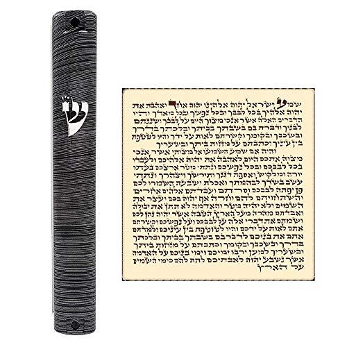 Talisman4U Waterproof Jewish MEZUZAH CASE with Scroll 3D Metal Painted Design Classic Israel Judaica Plastic Door Mezuza 5 Inch (Gray - Case Scroll
