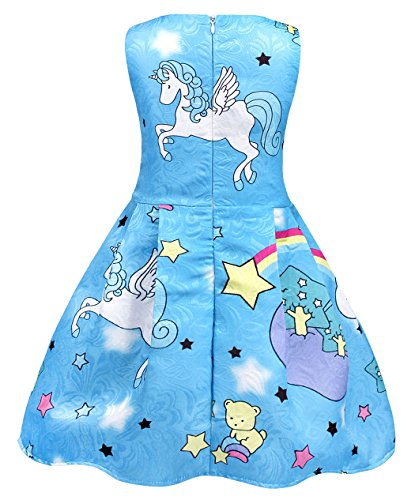 Cotrio Rainbow Unicorn Dress for Little Girls Birthday Party Dress Up Toddlers Casual Dresses Size 6 (5-6Years, Blue with Stars) by Cotrio (Image #3)