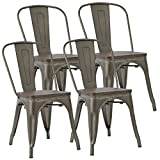 JUMMICO Metal Dining Chair Stackable Indoor-Outdoor Chairs with Wooden Square Seat Bistro Cafe Chairs Gun Metal Modern Style (Set of 4)