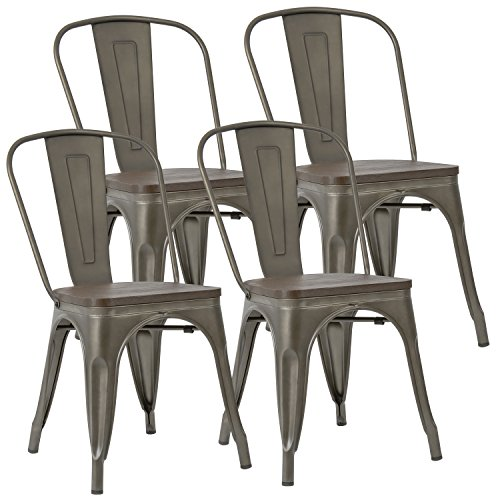 (JUMMICO Metal Dining Chair Stackable Industrial Vintage Kitchen Chairs Indoor-Outdoor Bistro Cafe Side Chairs with Back and Wooden Seat Set of 4 (Gun))