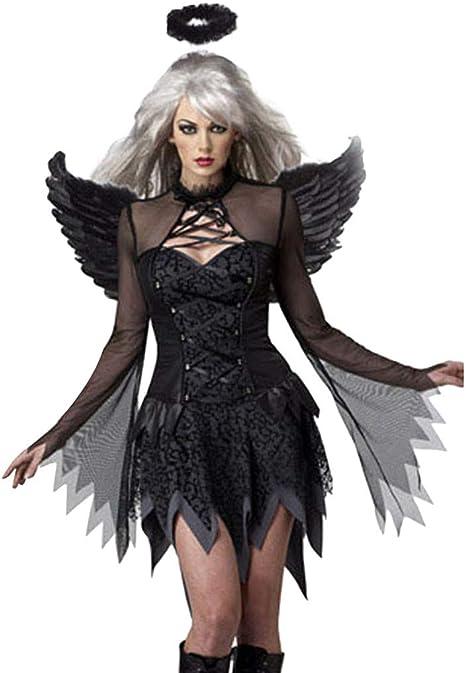 Black Feather Halo Ladies Fancy Dress Halloween Fallen Angel Adults Costume Acc