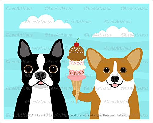 352D - Boston Terrier and Corgi Dogs Holding Triple Scoop Ice Cream Cone UNFRAMED Wall Art Print by Lee (Ice Cream Scoop Pastel)
