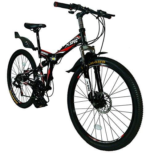 Xspec 26' 21 Speed Folding Mountain Bike Bicycle Trail Commuter Shimano Black