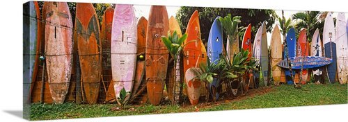 GreatBIGCanvas ''Arranged Surfboards, Maui, Hawaii'' Photographic Print with Black Frame, 48'' x 16'' by greatBIGcanvas