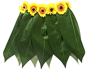 LITTLE FEATHER Hawaiian Ti Leaf Hula Skirt with Sunflower Waistband Luau Party Accessory Kids Size