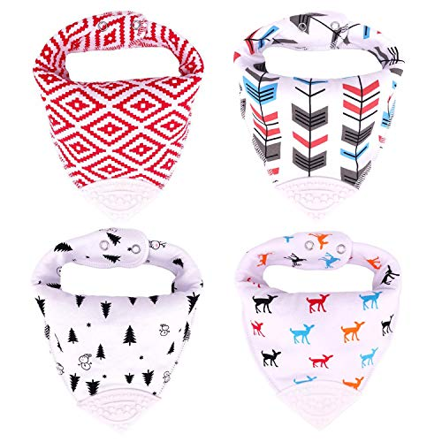 Honey Molly Baby Bandana Teething Bibs for Boys and Girls 4 Pack with Attached BPA-Free Silicone Teether -Unisex Bandana Bibs with Adjustable Snap for Teething -100% Organic Cotton (White/Green)