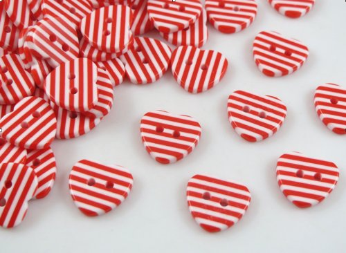 50pc the New Red and White Resin Stripes Heart - Wholesale Buttons Sewing