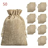 Burlap Bag with Drawstring - Burlap Bags with Drawstring-Burlap Gift Bag Jewelry Pouches for Wedding Favors, Party, DIY Craft and Christmas 5.40x3.74 inch(50 Pieces)