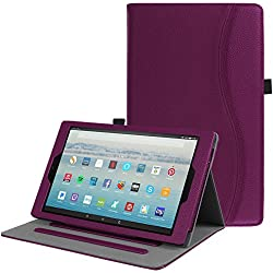 Fintie Case for All-New Amazon Fire HD 10 Tablet (7th Generation, 2017 Release) - [Multi-Angle Viewing] Folio Stand Cover with Pocket Auto Wake / Sleep for Fire HD 10.1 Inch Tablet, Purple