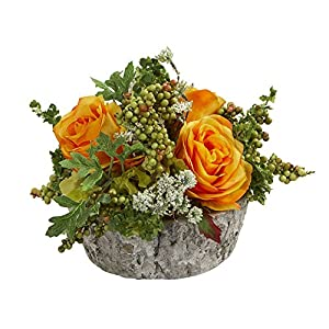 Nearly Natural 1634-OY Roses Bouquet Artificial Oak Vase Silk Arrangements Orange/Yellow 77