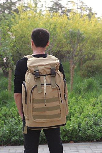 Gran capacidad de mochila multifuncional macho montañismo bolsa exterior caqui Khaki