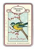 Cavallini Christmas Birds Glitter Greetings, 12 Assorted Postcards