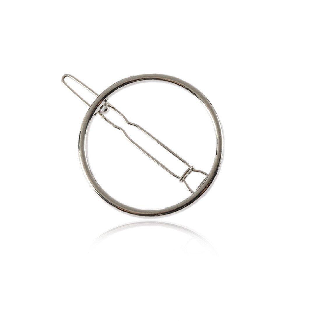 D& D-Bijoux de mode Barrette/Épingle/Peigne Cheveux/Clip a Cheveux/Pince a Cheveux/Ornements américains et européens métaux géométrique Simple Circulaire épingle épingle 3.5cm Black