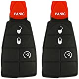 4 button key 2010 dodge journey - QualityKeylessPlus TWO Replacement 4 Button Remote Rubber Pads for Chrysler Dodge Jeep Fobik Remotes with FREE KEYTAG