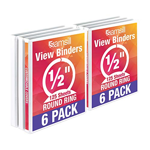 Samsill Economy 3 Ring View Binders, .5 Inch Round Ring, Customizable Clear View Cover, White, Bulk Binders - 6 - Samsill 3 Ring Vinyl