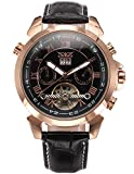 AMPM24 Men's Rose Gold Case Tourbillon Date Aviator Automatic Mechanical Leather Watch PMW282