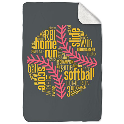 ChalkTalkSPORTS Softball Sherpa Fleece Blanket | Softball In