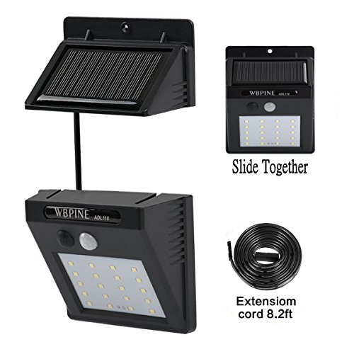 Solar Lights Outdoor 20 LEDs,WBPINE Super Bright Motion Sensor Lights with Wide Angle Illumination, Wireless Waterproof Security Lights for Wall, Driveway, Patio, Yard, Garden