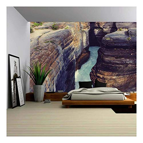 wall26 Scenic Views of The Athabasca River, Jasper National Park, Alberta, Canada - Removable Wall Mural | Self-Adhesive Large Wallpaper - 100x144 inches
