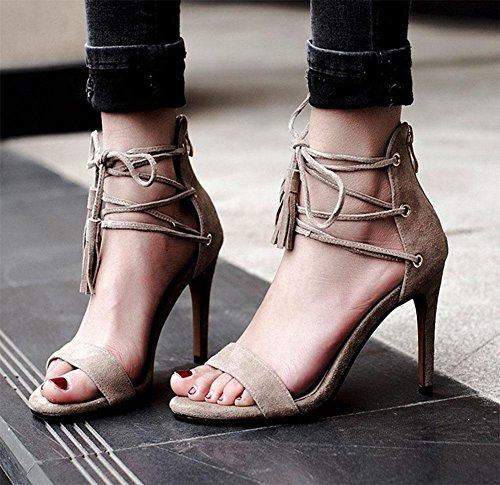 sandalias de la señorita Gao Gen finas de color sólido correa de cuero de las sandalias salvajes apricot