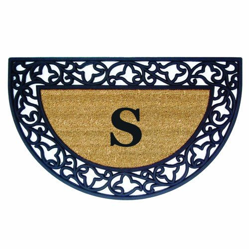Nedia Home Acanthus Border with Half Round Rubber/Coir Doormat, 22 by 36-Inch, Monogrammed S]()