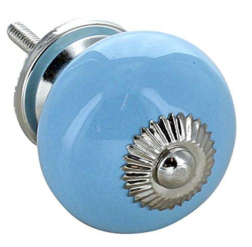 Light Blue Ceramic Door Knob Cupboard Drawer Pull Handle 40mm chrome brass base 4501-LBE by G Decor Door Ironmongery Ltd