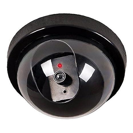 Camara falsa - SODIAL(R)Negro circuito cerrado de television exterior e interior camara simulada falsa de seguridad de boveda con luz intermitente LED de ...