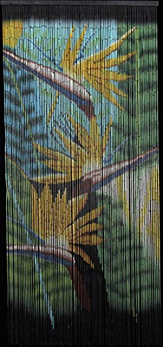 Bamboo Beaded Hawaiian Tropical Bird of Paradise Flower Decor Door Way Doorway Curtain Room Divider 90 Strands -