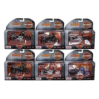 NEW DIECAST TOYS CAR MAISTO MOTORCYCLES 1:18 HARLEY-DAVIDSON CUSTOM SERIES 35 ASSORTMENT SET OF 6 31360-35: Toys & Games