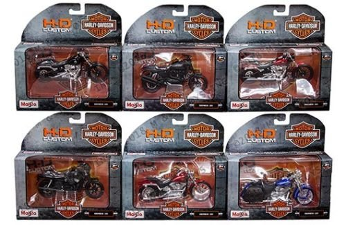 NEW DIECAST TOYS CAR MAISTO MOTORCYCLES 1:18 HARLEY-DAVIDSON CUSTOM SERIES 35 ASSORTMENT SET OF 6 31360-35