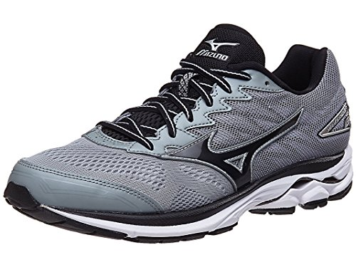 Mizuno Men's Wave Rider 20 Running Shoe, Light Grey/Black, 11 D US
